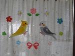 玄関の窓 鳥さん